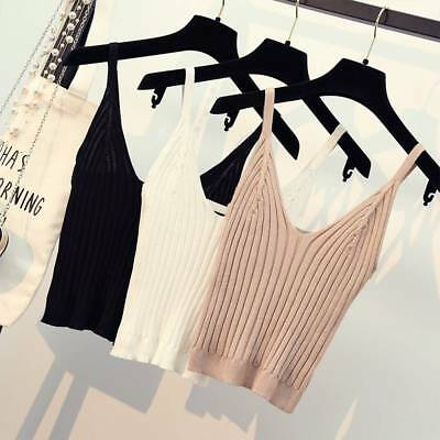 Fashion Women Sexy Knitted Crop Tops Crop Sleeveless Cropped Tank Tops Camisole
