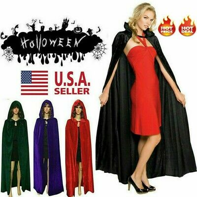 Witch Velvet Cloak Halloween Party Adult Hooded Cape Robe Costume USA