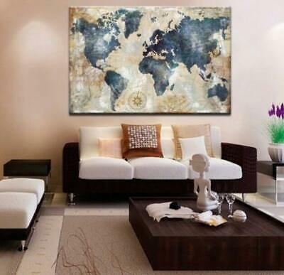 Vintage World Map Canvas prints painting Wall Art Home Decor Picture 1P