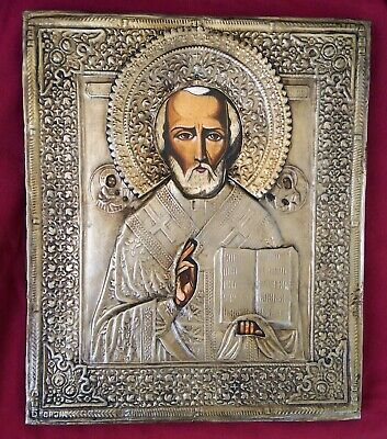 Old Silver Russian Orthodox Hand-painted Icon of Saint Nicholas the Wonderworker