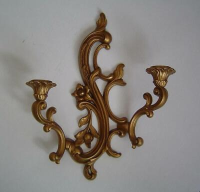 Vtg Dart Syroco Gold 2 Arm Ornate Wall Candle Sconce 3931 Hollywood Regency NICE