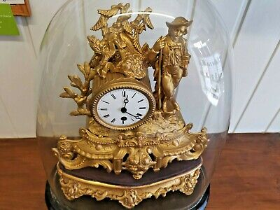 Beautiful French 1860s domed gold guilt Louis mantle clock perfect in every way
