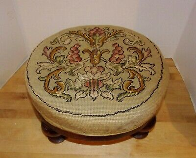 Antique Late Victorian Solid Cherry Wood Foot Stool w/Original Needlepoint Uphol