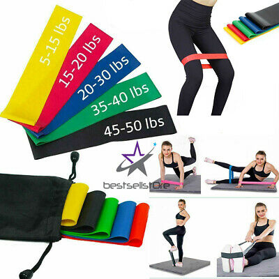 Resistance Loop Bands Set Strength fitness Gym exercise Yoga workout Pull Up USA