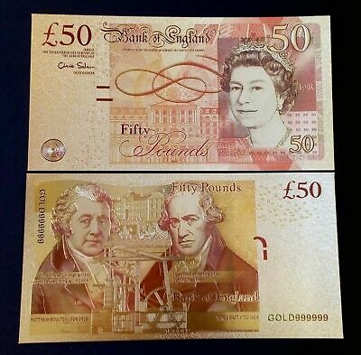 24 Carat Gold Leaf £50 Fifty Pound note Collectable