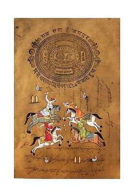 Vintage Indian miniature painting Rajput King Horse Polo Game sport artwork