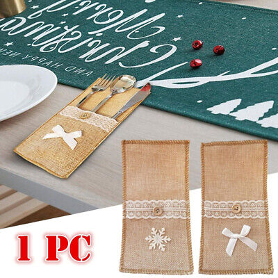 Christmas Burlap Lace Cutlery Pouch Knives Forks Tableware Holder Bag Hessian
