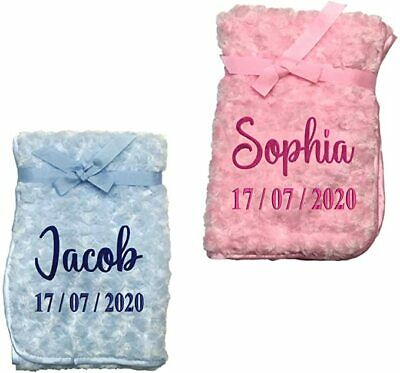 Baby Blanket Soft Personalised Name Embroidered Shawl Comforter Pink Blue Kids