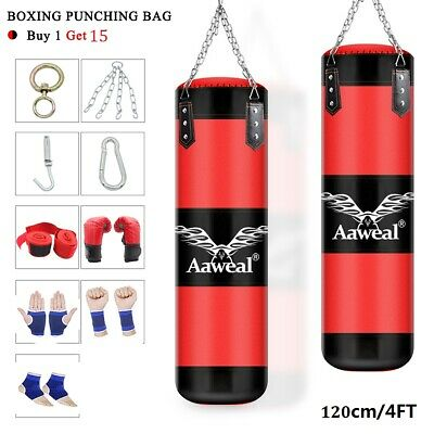 4ft Heavy kick Boxing Punch Bag Hanging Training MMA Bags martial Arts Unfilled
