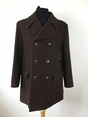 Vintage 70s Austin Reed Brown Wool Double Breasted Overcoat Peacoat Coat C40 75 00 Picclick Uk