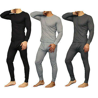 New Mens 2PC Soft 100% Cotton Thermal Underwear Long Johns Set Top, Bottom M-2XL