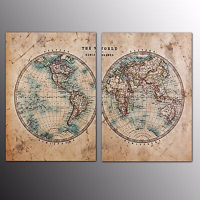 FRAMED Canvas Print Wall Art Home Two Sides World Map Canvas Oil Painting Large