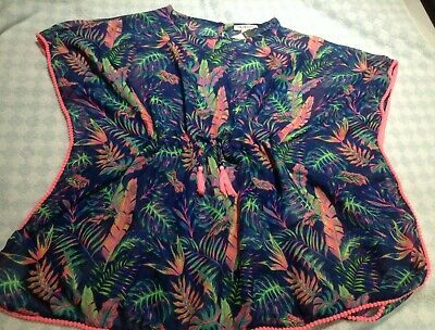girls beach cover up swimsuit kaftan blouse coral 7-11 years poly-cotton NEW TAG