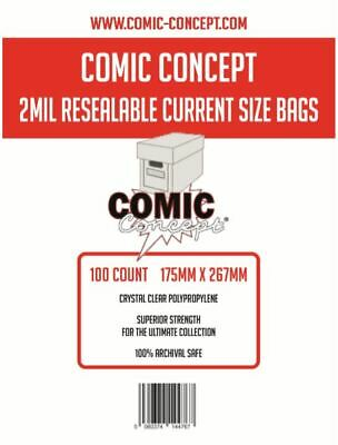 100 x 2 MIL RESEALABLE CURRENT SIZE COMIC BAGS 175 x 267mm (APPROX) 38MM FLAP