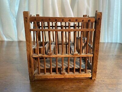 ANTIQUE COAL MINER'S WOODEN CANARY BIRD CAGE Pottery Water Dish Wood Feeder