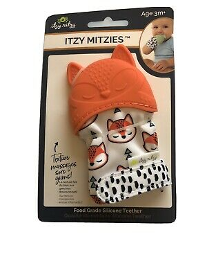 Itsy Ritzy Itzy Mitzies Silicone Orange Teething Mitt 3m+