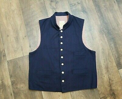 Vtg Wah Maker True West Outfitters Navy Wool Vest Men's Sz M Red Check Back