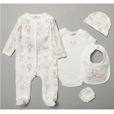 Baby Boys Girls Layette Clothing and Gift Bag Set Duck Neutral Outfit 3-6 Months White