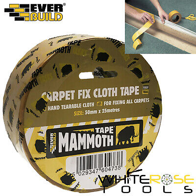 EverBuild Mammoth Clear Double Sided Carpet Fix Cloth Tape 50mm x 25m Easy Tear