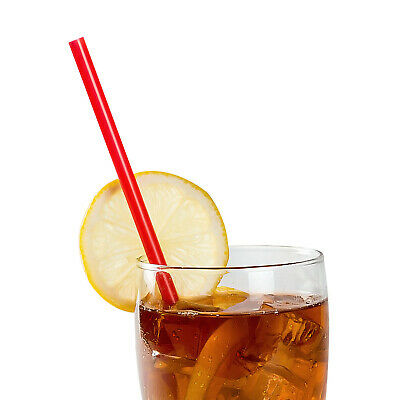 """10.25"""" Giant Red Poly Wrapped Straws, Case of 6000"""