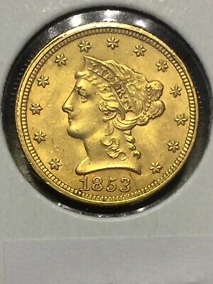 Lot 491-1853 $2.5 Quarter Eagle Liberty Head Gold U.S Coin Reverse Damage - LOOK
