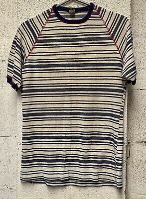 CADS Vintage 1970s T Shirt Knit Blue White Stripes Rockabilly Retro
