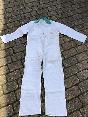 Vintage  Green White Coveralls Overalls Boilersuit Chore British 44
