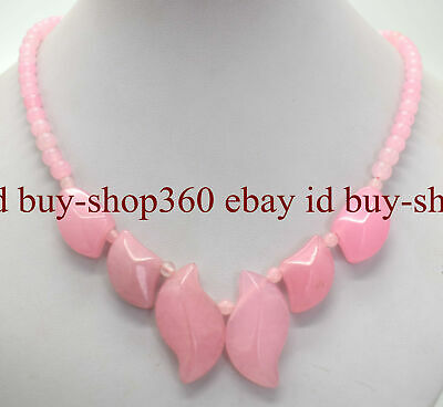 Fashion Natural Pink Rose Quartz Gemstone Beads Pendant Necklace 18'' AAA+
