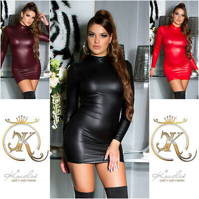 Sexy Koucla Kleid Wetlook Lederlook gerafftes Kleid  Minikleid
