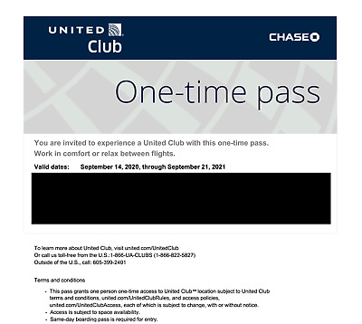 One United Club One Time Pass EXP 9/21/2021- CHASE E-pass only - Email delivery