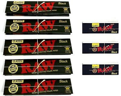 RAW Black CLASSIC Rolling Papers King Size Slim with Black Roach Filter Tips Kit