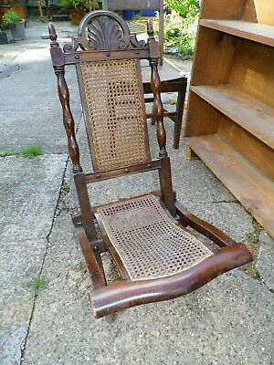 Antique Wooden Barley Twist Carved Campaign Chair