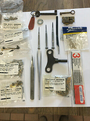 Assorted Antique Clock Parts And Tools For Repairs