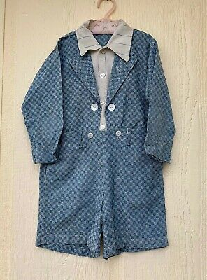 Vintage 1950's Boy's Handmade Suit 2pc Button Attach Pants Checkered