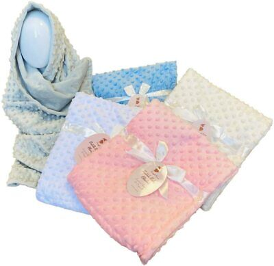 Baby Girls Boy Neutral Colour Luxury Soft Fleece Bubble Waffle Blanket Wrap Gift