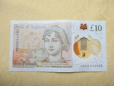 Unique Number - Polymer QEII GB £10 Banknote Austin/Cleland Bank of England CB33