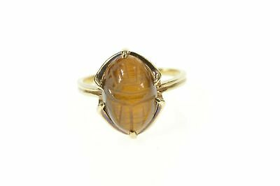 10K Carved Tiger's Eye Ancient Egyptian Scarab Ring Size 8 Yellow Gold *90