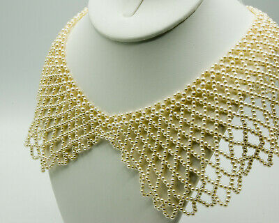 Vintage Faux Pearl Collar Necklace Choker, Lacy Beaded