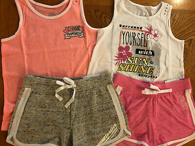 Justice Girls Size 10 Lot 2 Tank Tops/Shirts & 2 Dolphin Style Shorts Outfits