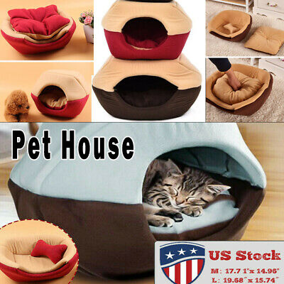 Soft Warm Cat Dog Foldable Bed House Removable Puppy Cave Pet Folding Washable