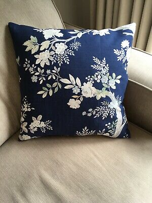 """16/"""" LAURA ASHLEY  NEW QUEENSBURY  MIDNIGHT CUSHION COVER  PIPED"""