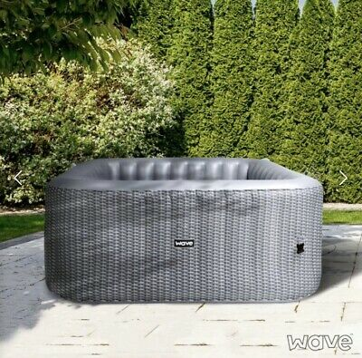 Luxury Inflatable Hot Tub Jaccuzi Spa Grey Rattan 4 Person RRP £1079