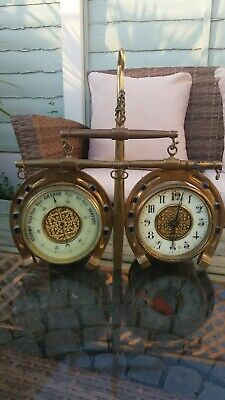 Antique Clock And Barometer Desk Set  Horse Shoe Design  . Spares
