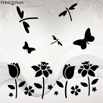 FLOWERS AND DRAGONFLY STENCIL 26cm x 18cm