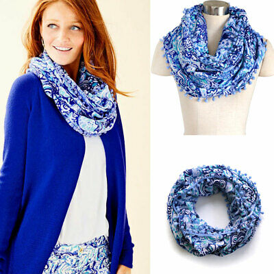 New Lilly Pulitzer Resort infinity scarf Loop Royal Purple 60 Animals Blue