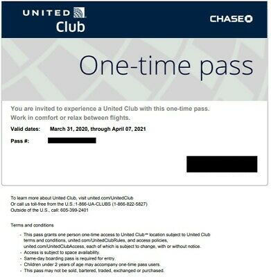 United Airlines Club One-Time Pass w/ Electronic Delivery (Expires Apr 2021)