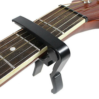 Quick Change Tune Clamp Key Trigger Capo For Acoustic Electric Guitar Black #E1M