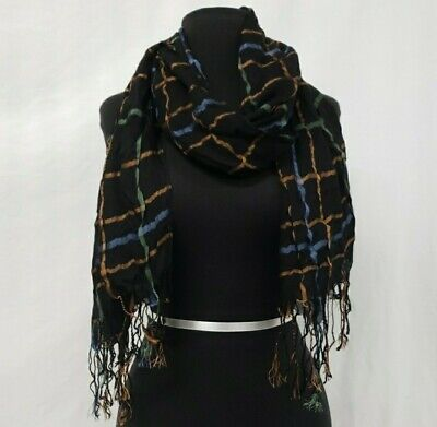 Blue, Black, Gold, And Green Scarf