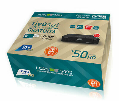 Decoder Sat Tivusat Ican S490 Ricevitore Tvsat Dvbs2 I-Can Scr Dcss Hevc Dolby
