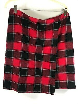 Talbots Wrap Skirt Red Black Blue Plaid Lined Women's Size 12